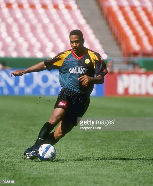 Robin Fraser of the Los Angeles Galaxy dribbles the ball during the MLS Western Conference Finals against the Kansas City Wizards at Arrowhead...