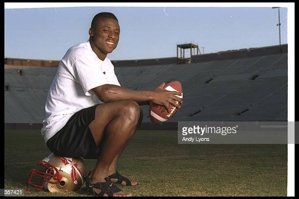 Running back Warrick Dunn of the Florida State Seminoles poses for a photo after practice.