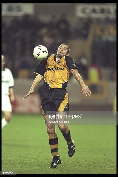 Steve Bull of Wolves in action chesting the ball during the Nationwide League match between Wolves and Bolton at Molineux in Wolverhampton Bolton...