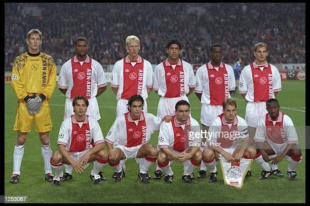 The Ajax team line up before the start of the champions league match between Ajax and Rangers at the Olympic Stadium in Amsterdam, Holland. Ajax went...