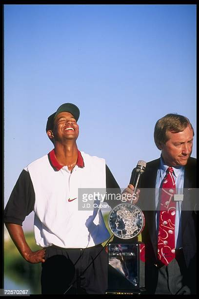 Tiger Wood celebrates after winning the Las Vegas Invitational in Las Vegas, Nevada. Woods won the tournament, capturing his first ever win on the...