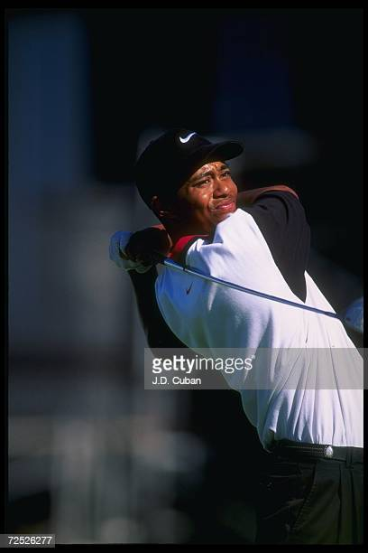 Tiger Wood tees off during the Las Vegas Invitational in Las Vegas, Nevada. Woods won the tournament, capturing his first ever win on the pro tour....