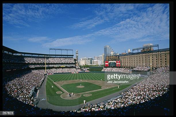 View of Camden Yards during a playoff game between the Cleveland Indians and the Baltimore Orioles in Baltimore, Maryland. The Orioles won the game...