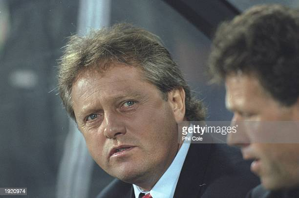 A portrait of Arie Haan the coach of Feyenoord during the Champions League match against FC Kosice at the De Kuip stadium in Rotterdam Holland...