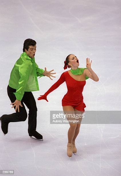 Anna Semenovich and Vladimir Fedrov of Russia do their routine during the Thrifty Car Rental Skate America at the Joe Louis Arena in Detroit Michigan...