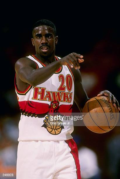 Donald Whiteside of the Atlanta Hawks in action during the Hawks 10296 loss to the Washington Wizards at the Great Western Forum in Inglewood...