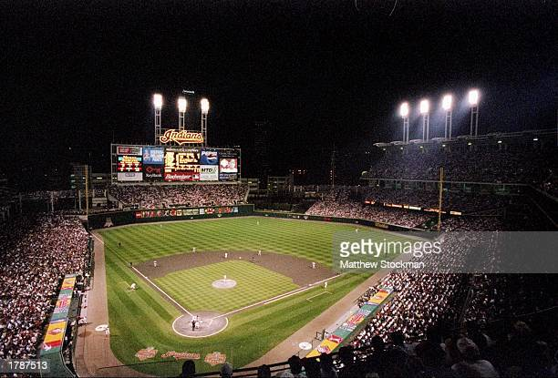 General view of a game between the Cleveland Indians and the New York Yankees at Jacobs Field in Cleveland, Ohio. The Indians won the game, 4-3.