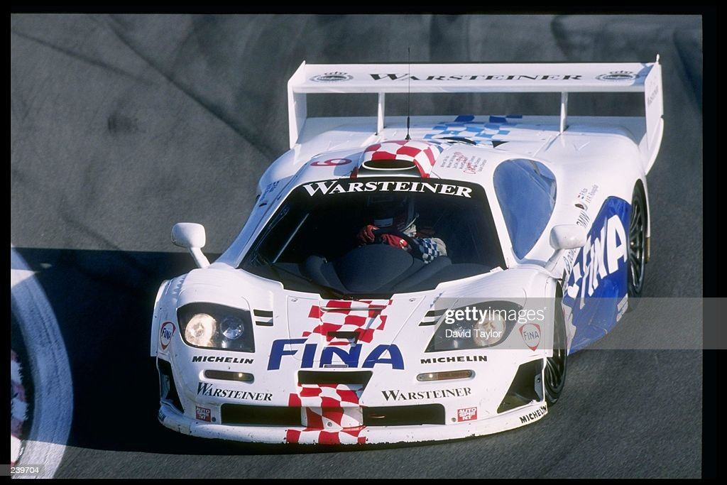 General view of a McLaren BMW F1 GTR during the Visa FIA GT race at the Laguna Seca Raceway in Monterey, California. Mandatory Credit: David Taylor /Allsport