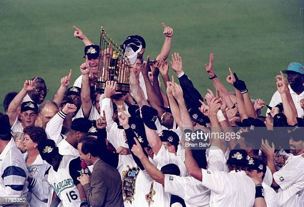 General view of players for the Florida Marlins celebrating after 11 innings of the 7th game of the 1997 World Series against the Cleveland Indians...
