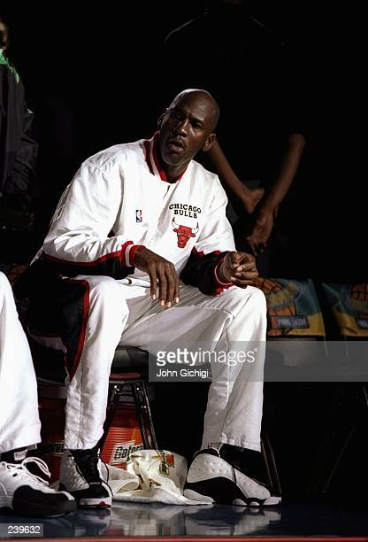 Guard Michael Jordan of the Chicago Bulls looks on during the McDonald''s Championship final against the Olympiakos at the Palais Omnisports de...