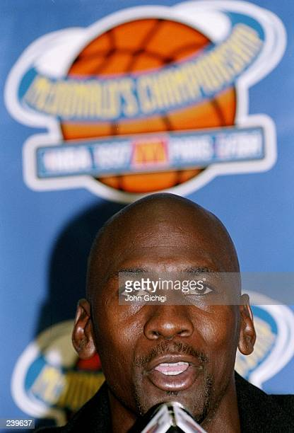 Guard Michael Jordan of the Chicago Bulls speaks to the press prior to the McDonald''s Championship series at the Palais Omnisports de ParisBercy in...