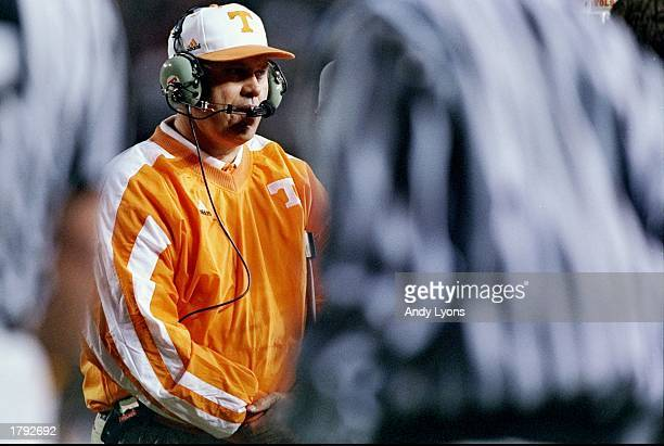 Head coach Phil Fulmer of the Tennessee Volunteers looks on from the sidelines during a game against the Alabama Crimson Tide at Legion Field in...