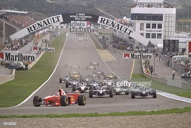 Michael Schumacher of Germany in his Ferrari leads the European Grand Prix in Jerez Spain Mandatory Credit Mike Cooper /Allsport