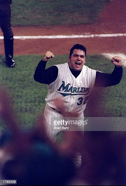 Pitcher Alex Fernandez of the Florida Marlins in action during the seventh game of the World Series against the Cleveland Indians at Pro Player...
