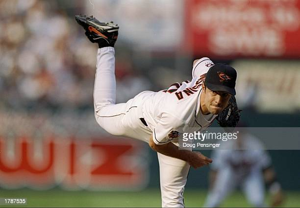 Pitcher Mike Mussina of the Baltimore Orioles throws the ball during a game against the Seattle Mariners at Camden Yards in Baltimore Maryland The...