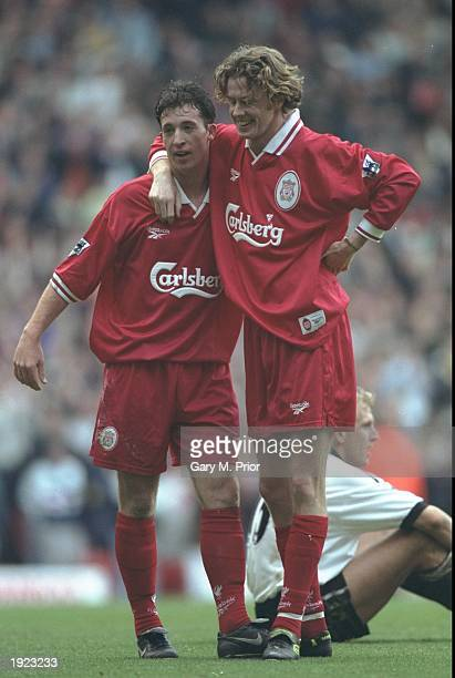 Robbie Fowler and Steve McManaman of Liverpool celebrate a goal during the FA Carling Premiership match against Derby County at Pride Park in Derby...