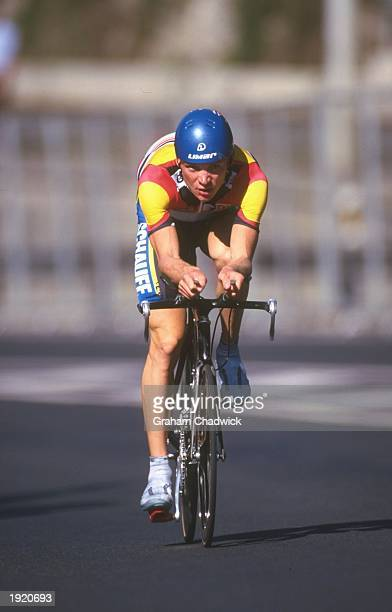 Uwe Peschel of Germany in action during the Mens Seniors Time Trial at the World Cycling Championships at San Sebastian in Spain Mandatory Credit...
