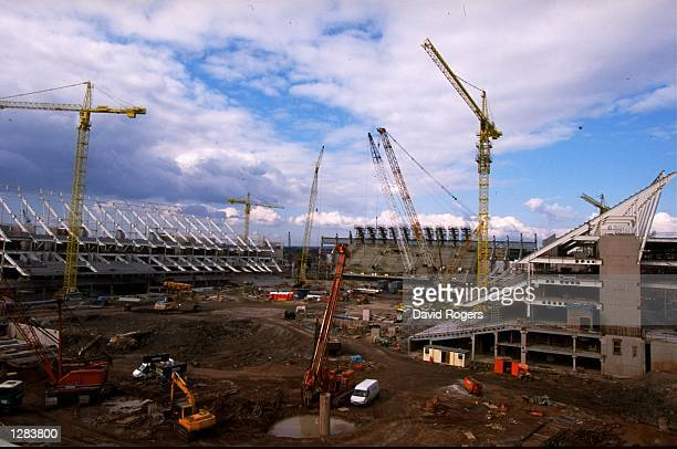 A general view of the New Millennium Stadium under construction in Cardiff Wales Mandatory Credit David Rogers /Allsport