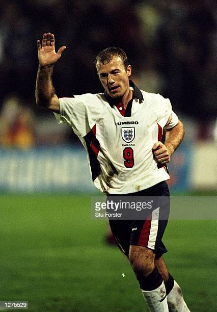 Alan Shearer of England celebrates his goal during the European Championship qualifier against Luxembourg at the Josy Barthel Stadium in Luxembourg...