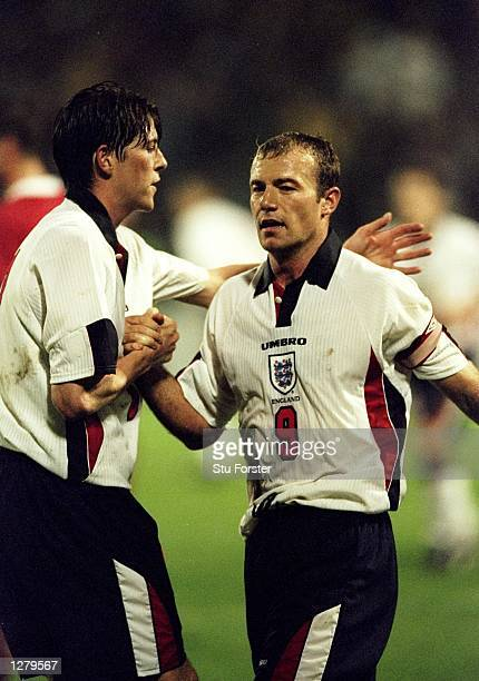 Alan Shearer of England is congratulated by team mate Darren Anderton during the European 2000 Qualification game against Luxembourg Luxembourg...
