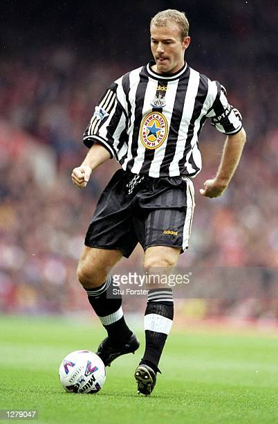 Alan Shearer of Newcastle in action during the FA Carling Premiership match against Newcastle at Highbury in London England Arsenal won the game 30...