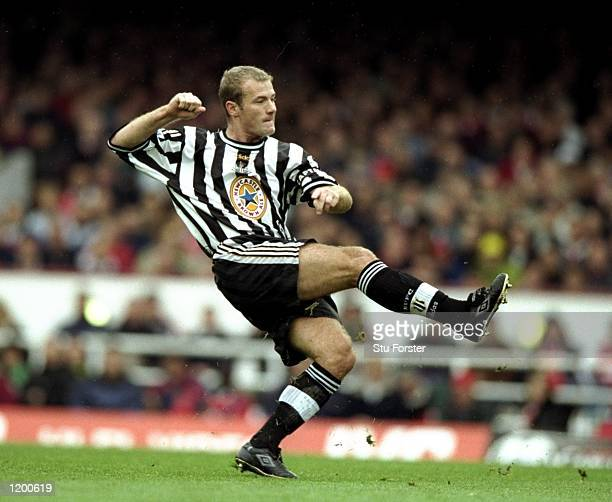 Alan Shearer of Newcastle shoots at goal in a FA Carling Premiership match against Arsenal at Highbury in London England The match finished in a 30...
