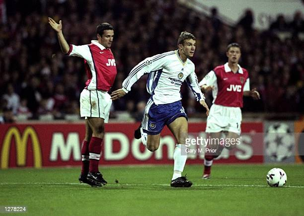 Andrei Shevchenko of Dynamo Kiev goes past Remi Garde of Arsenal during the UEFA Champions League match at Wembley in London The game ended 11...