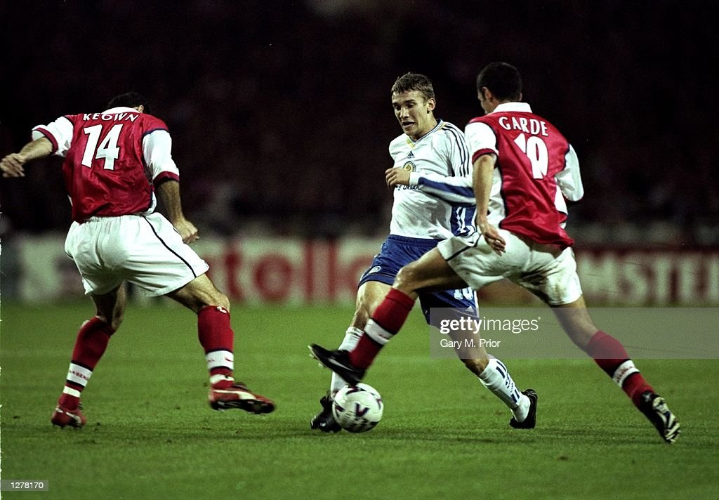 Andrei Shevchenko of Dynamo Kiev takes on Arsenal's Martin Keown and Remi Garde during the UEFA Champions League match at Wembley in London. The game ended 1-1. \ Mandatory Credit: Gary M Prior/Allsport