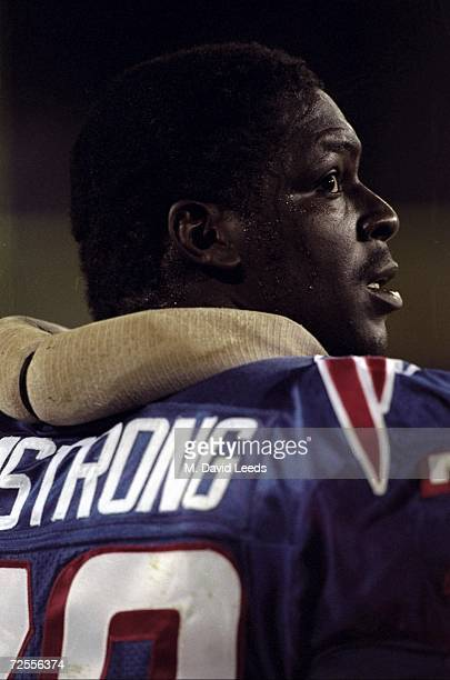 Bruce Armstrong of the New England Patriots watches from the side-lines during the game against the New York Jets at Foxboro Stadium in Foxboro,...