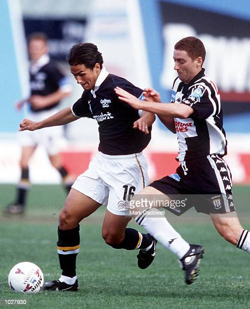 Cameron Pino of Carlton is challenged by his opponent during the NSL match between Carlton and Adelaide City played at Optus Oval Melbourne Australia...