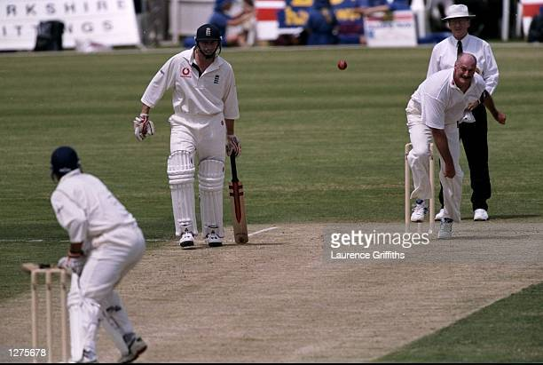 Dennis Lillee of the ACB Chairmans XI bowls to Mark Butcher of England during the tour match at Lilac Hill in Western Australia England won by 1 run...