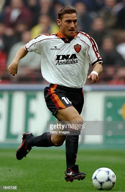 Francesco Totti of Roma in action during the Serie A match against AC Milan at the San Siro Stadium in Milan Italy Milan won 32 Photo Claudio Villa...