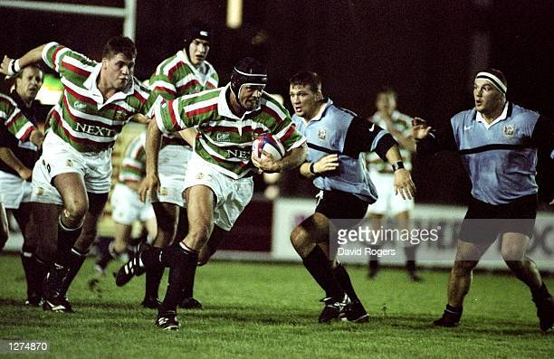 Fritz Van Heerden of Leicester in action during a Rugby Union Friendly against Cardiff at Welford Road in Leicester England Cardiff won the game 3520...