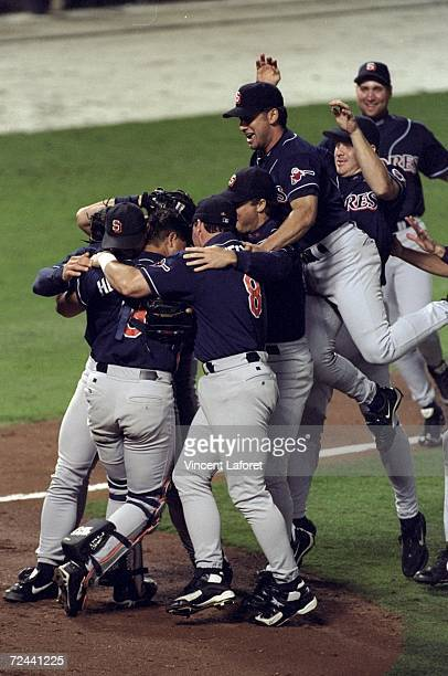 General view as members of the San Diego Padres celebrate winning the pennant following the National League Championship Series game against the...