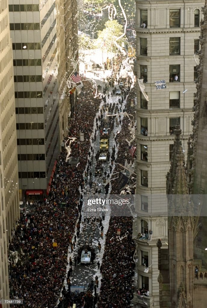 General view of the celebration for the New York Yankees celebrates during a ticker-tape parade held after the Yankees defeated the San Diego Padres in four games to win the World Series in New York City, New York.