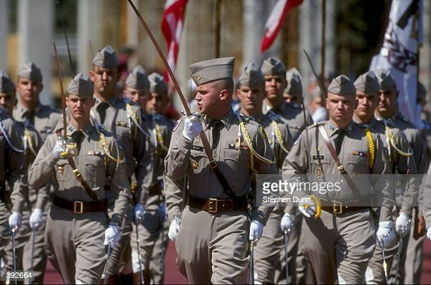 General view of the ROTC squad of the Texas AM Aggies marching during the game against the Nebraska Cornhuskers at Kyle Field in College Station...