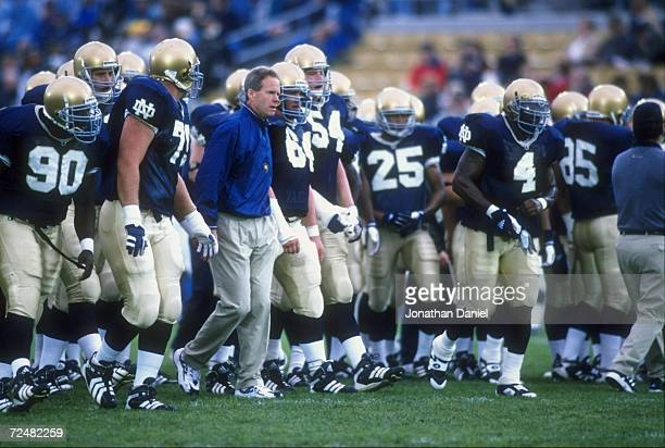 Head coach Bob Davie of the Notre Dame Fighting Irish looks on from the sidelines during the game against the Baylor Bears at the Notre Dame Stadium...