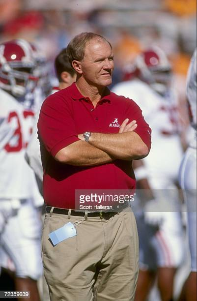 Head coach Mike Dubose of the Alabama Crimson Tide watches the field during the game against the Tennessee Volunteers at Neyland Stadium in Knoxville...