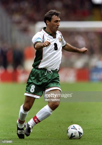 Hristo Stoichkov of Bulgaria in action during the European Championship qualifier against England at Wembley in London The game ended 00 Mandatory...