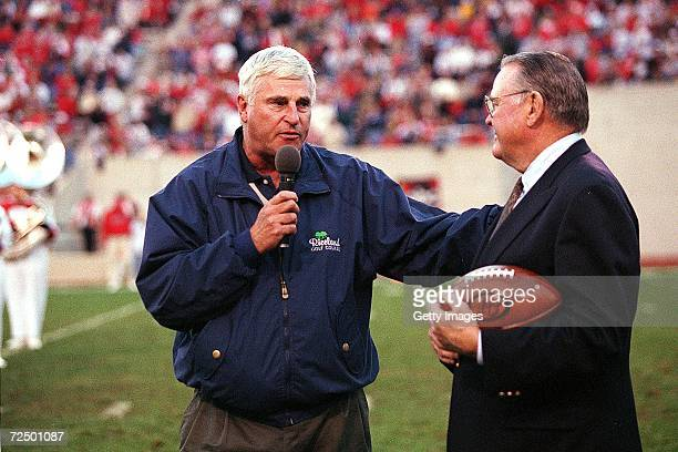 Indiana Basketball Coach Bobby Knight speeks with ABC Sportscaster Keith Jackson during the game against the Ohio State Buckeyes and the Indiana...