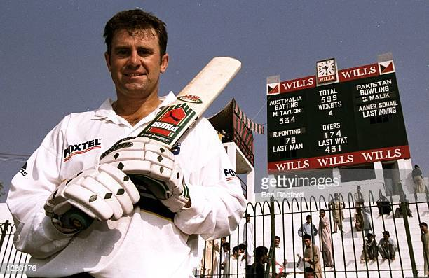 Mark Taylor of Australia after his record score innings in the Second Test against Pakistan in Peshawar Pakistan Mark Taylor scored a record number...