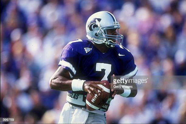 Michael Bishop of the Kansas State Wildcats looks to throw during the game against the Oklahoma State Cowboys at Wagner Stadium in Manhattan, Kansas....