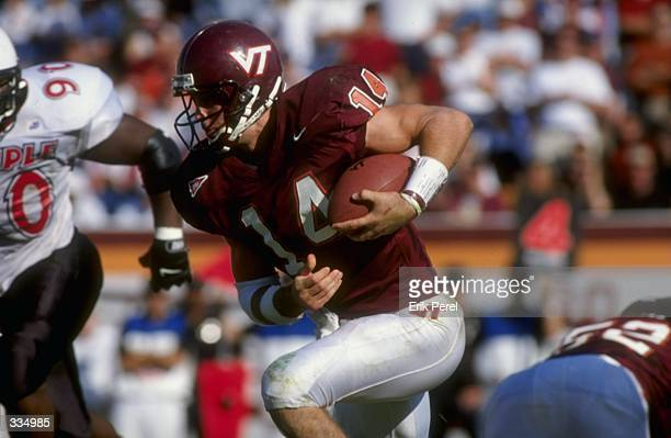 Nick Sorensen of the Virginia Tech Hokies in action during the game against the Temple Owls at the Lane Stadium in Blacksburg Virginia The Owls...