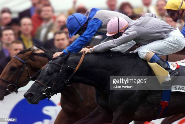 Olivier Peslier ridding Sagamix gets up on the line to beat Richard Quinn and Leggera to win The Prix de L''Arc De Triomphe run at Longchamp in Paris...