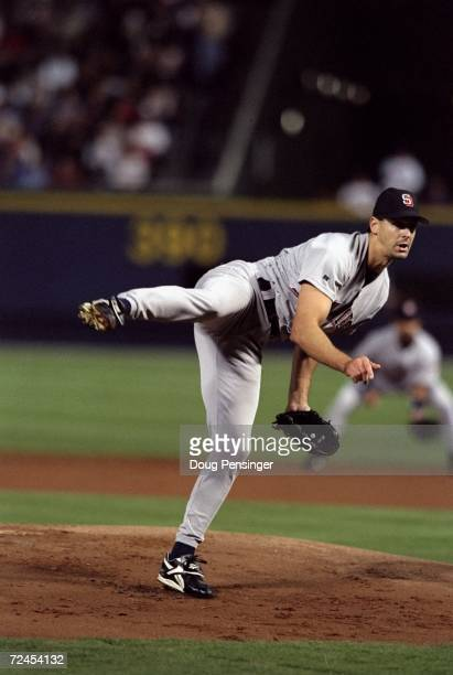 Pitcher Kevin Brown of the San Diego Padres in action during the National League Championships Series game against the Atlanta Braves at Turner Field...