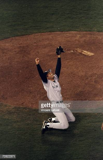 Pitcher Mariano Rivera of the New York Yankees celebrates following the 1998 World Series Game 4 against the San Diego Padres at the Qualcomm Stadium...