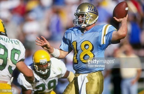 Quarterback Cade McNown of the UCLA Bruins in action during the game against the Oregon Ducks at the Rose Bowl in Pasadena California The Bruins...