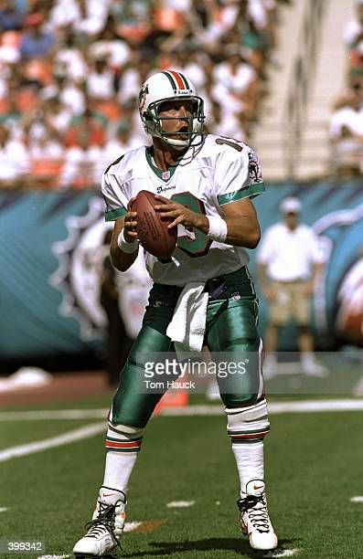 Quarterback Dan Marino of the Miami Dolphins in action during the game against the New England Patriots at the Pro Player Stadium in Miami Florida...