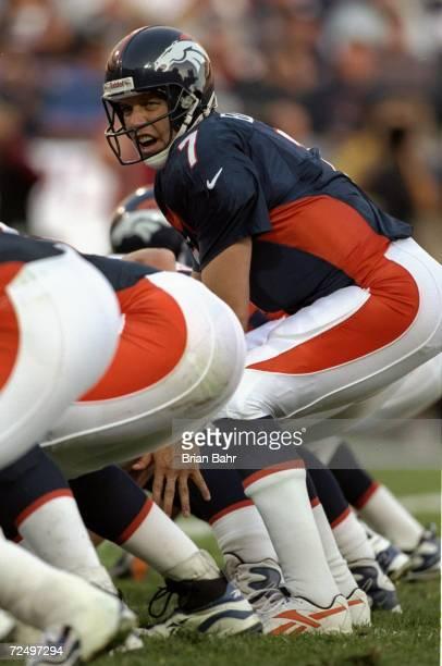 Quarterback John Elway of the Denver Broncos in action during the game against the Jacksonville Jaguars at the Mile High Stadium in Denver Colorado...
