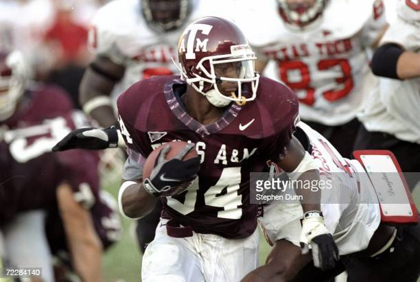 Running back Dante Hall of the Texas AM Aggies in action during the game against the Texas Tech Red Raiders at Kyle Field in College Station Texas...